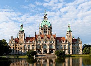 Hannoverin uusi kaupungintalo. Saksa.