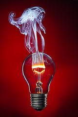 Hehkulamppu, jonka lasia on raotettu, wolframihehku palaa liekillä sisään päässeen hapen vaikutuksesta.