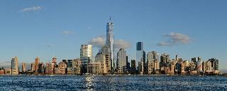Lower Manhattan Jersey Cityn puolelta nähtynä (panoraama)