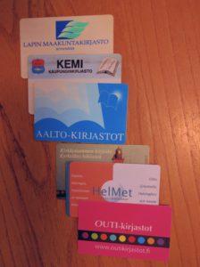Lapin, Kemin, Aalto-, Kirkkonummen, Helmet- ja Outi-kirjastokortit