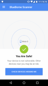 BlueBorne Scanner (Moto G): You Are Safe!
