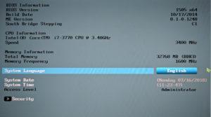UEFI (BIOS) perustiedot: versio, suoritintyyppi, muistin määrä (32768 MB) ja taajuus (1600 MHz)