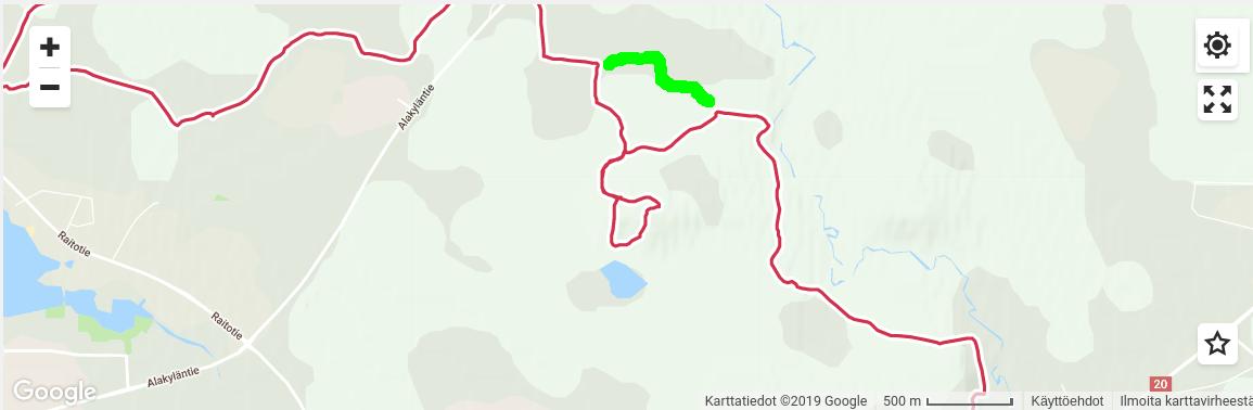 Google-kartta, jossa kulkemani Ahvenlampi-Auranmaja-(Kalikkalampi-)Hiukkavaara-reitti punaisella, Kalikkalammen ohittava oikoreitti vihreällä