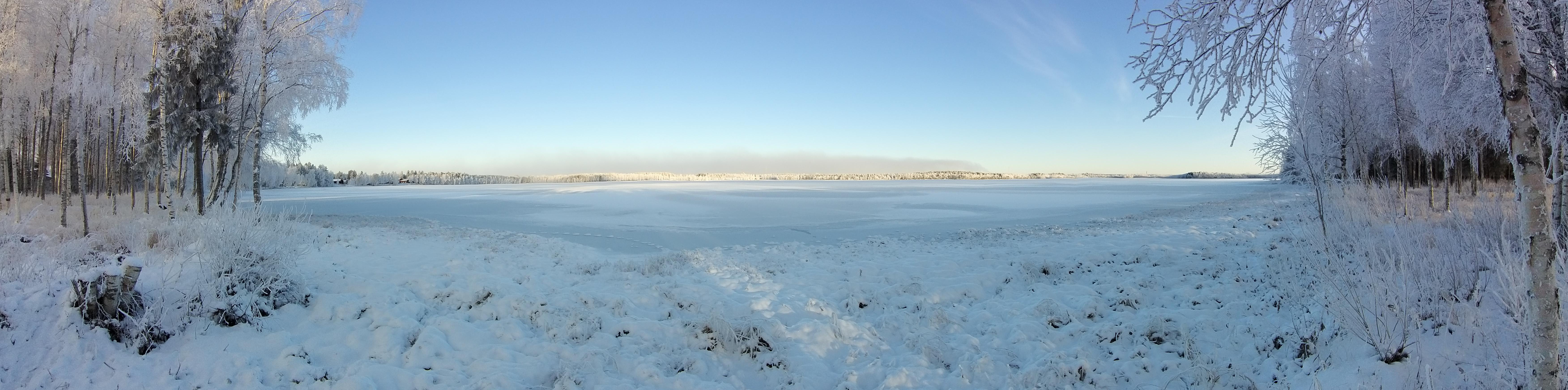 Panoraama Pyykösjärvestä talvella. Rantakoivikot vasemmalla ja oikealla. Aurinko valaisee vastarannan metsikköä.